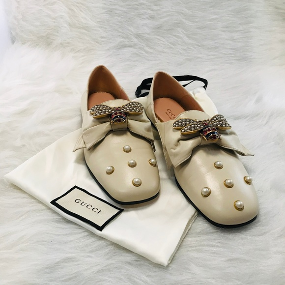 Gucci Queen Margaret Bee Creme Leather